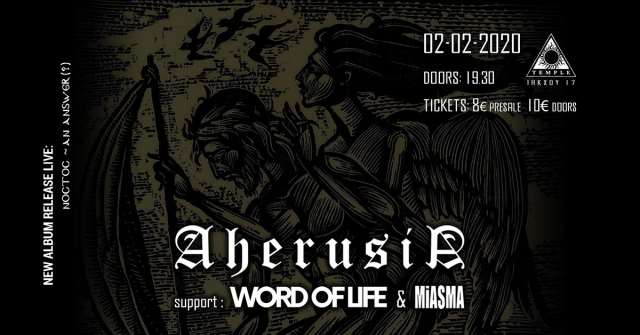 AHERUSIA: Κυριακή 2 Φεβρουαρίου @ Temple Athens w/ Word Of Life και Miasma