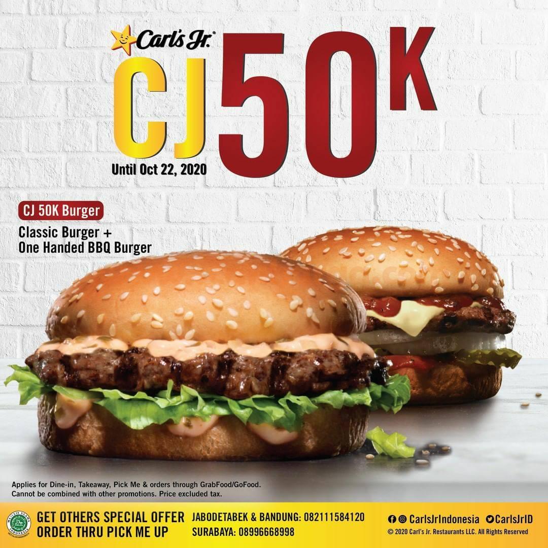 Carl's Jr Promo 2 PCS CJ BURGER – Harga Cuma Rp. 50.000 saja