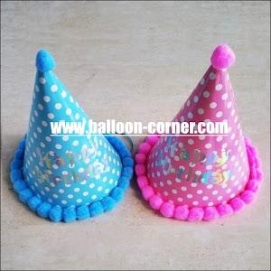 Topi Ulang Tahun Kerucut Accessories Pom Pom Motif Polkadot