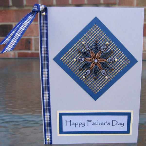 handmade Father's Day card with quilled mandala