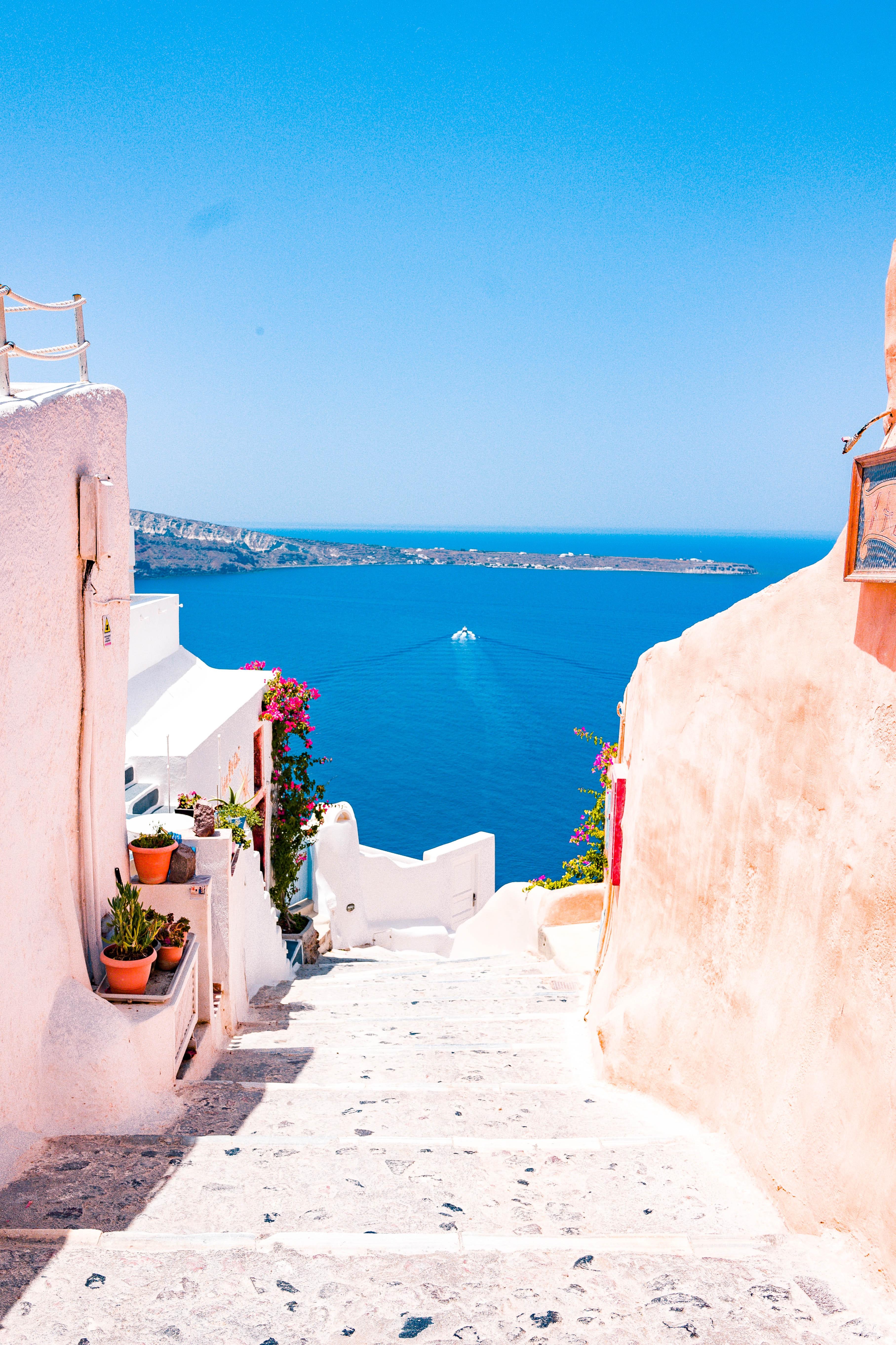 Santorini, Greece sea view with pink buildings