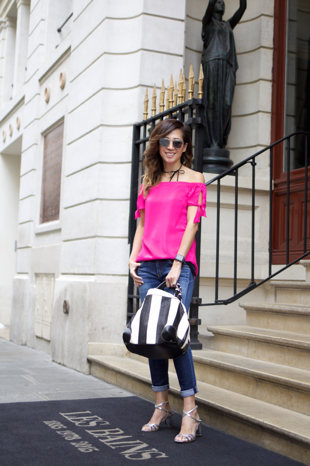 Full length ootd wearing Amanda Uprichard, Rag & Bone jeans, Caroline de Marchi bag, Prada sandals, Baublebar choker