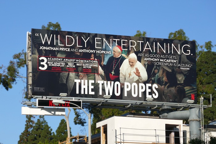 Two Popes 3 Academy Award nominations billboard