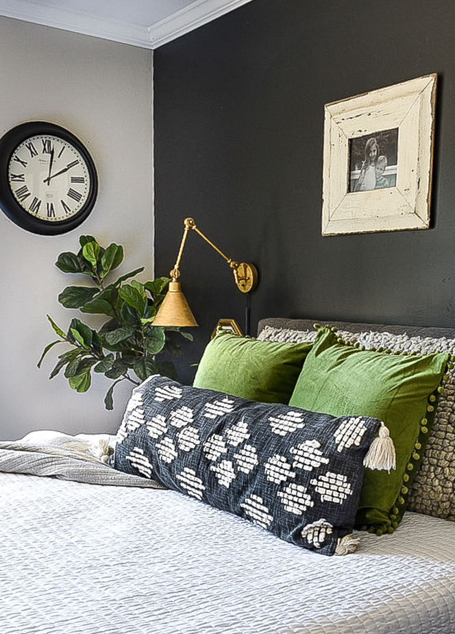 Green pillows in bedroom