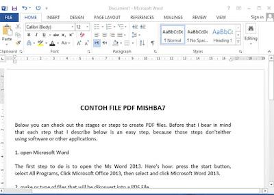 Membuat PDF melalui Word