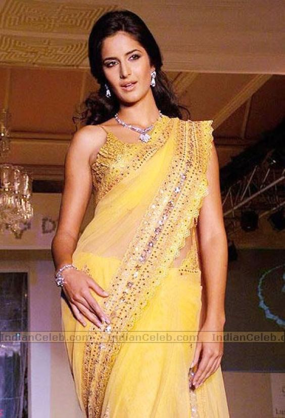 Bollywood Celebrities Katrina Kaif In Saree Wallpapers-8717