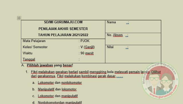 Soal UAS / PAS PJOK Kelas 6 Semester 1 K13