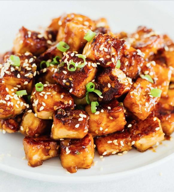pan fried sesame garlic tofu