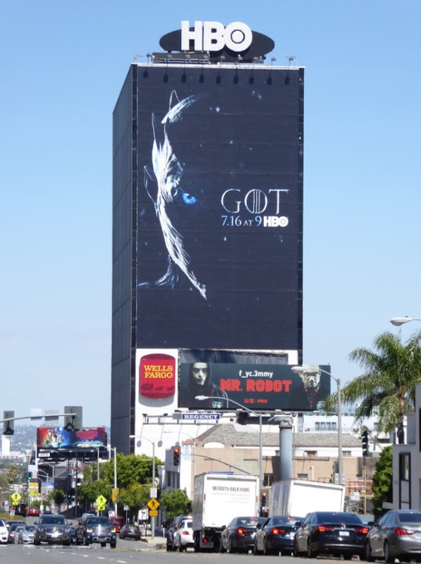 Giant Game of Thrones season 7 teaser billboard Sunset Strip