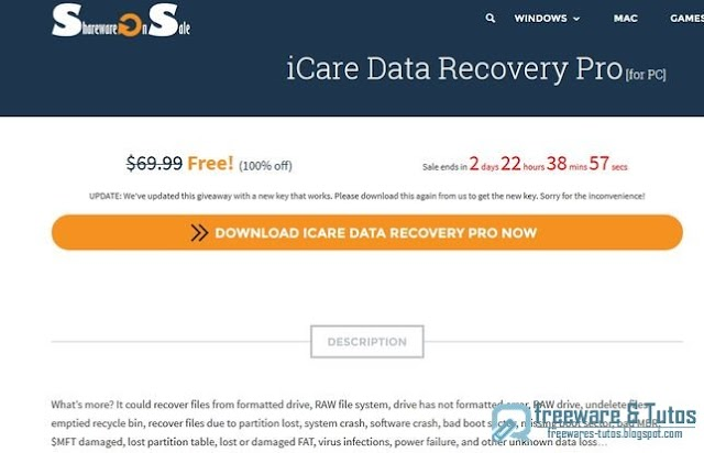 Offre promotionnelle : iCare Data Recovery gratuit (3 jours) !