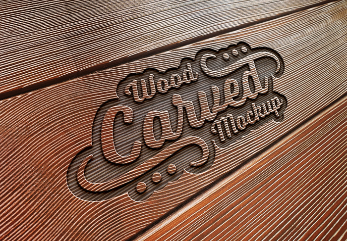 Engraved Text Effect Wood Plank Texture Mockup