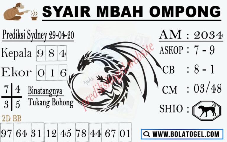 Prediksi Sidney 29 April 2020 - Syair Mbah Ompong Sidney
