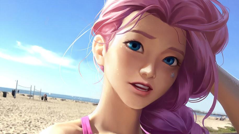Seraphine, LoL, Beach, 4K, #5.2684