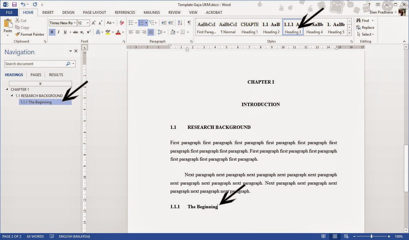 gaya ukm thesis template