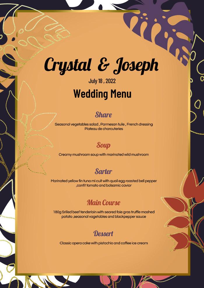 Purple Gold Foil Plant Wedding Menu Card Templete