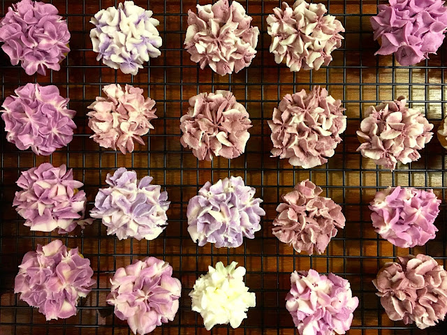 Testing Color Hues for Buttercream Flowers