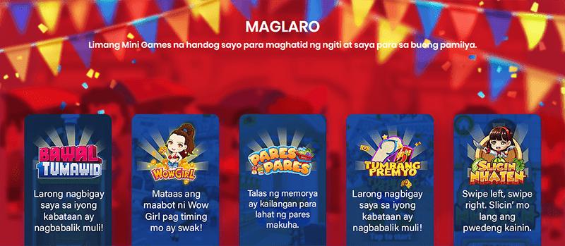 Five mini-games in the app