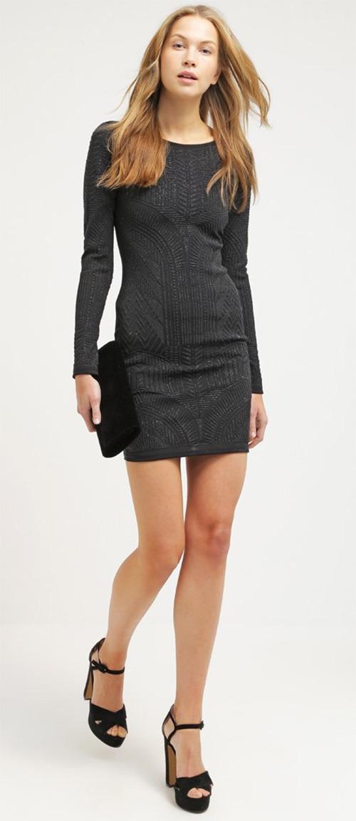 Robe courte noire en jersey Miss Selfridge