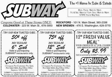 Subway coupons march 2019