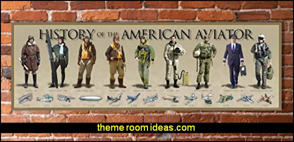 History of The American Aviator Poster Vintage Airplane wall decorations