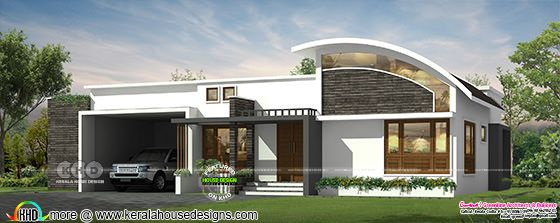 curved roof mix single storied house