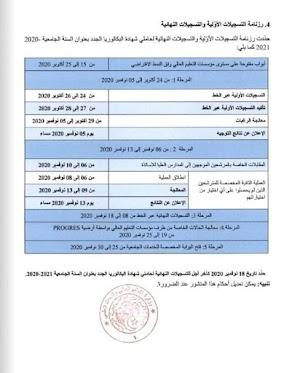رزنامة التسجيلات الاولية و النهائية لحاملي شهادة البكالوريا 2020-2021