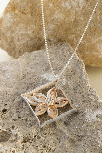 Floral Diamond Pendant - paper jewelry by Ann Martin