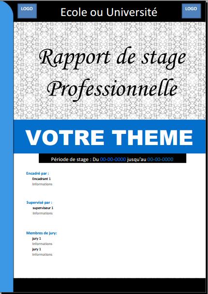 Docx Page De Garde Professionnelle Pour Rapport De Stage