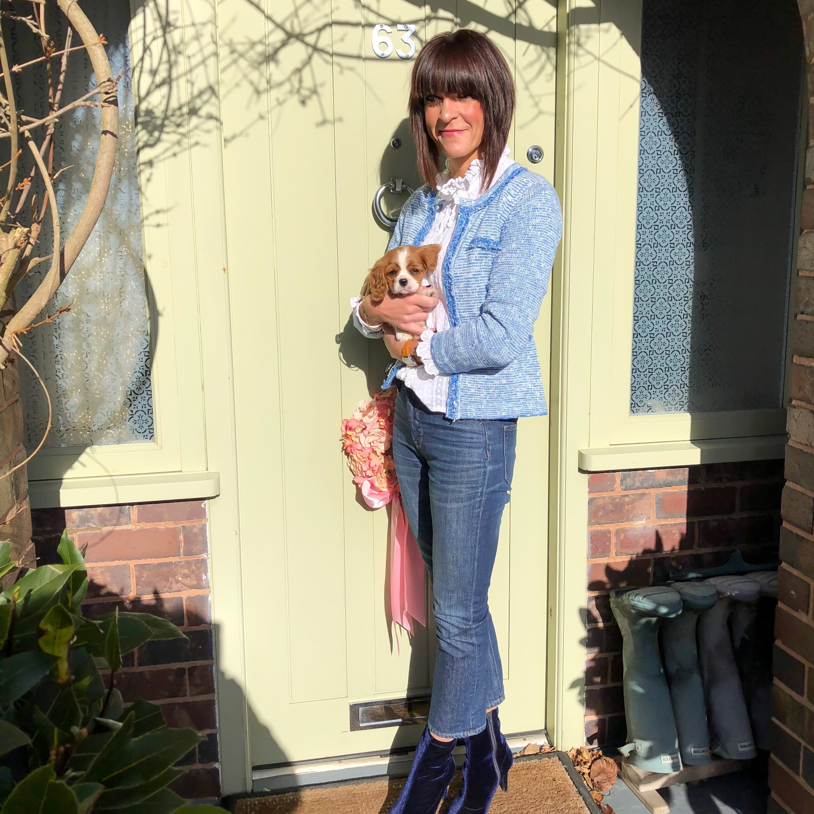 my midlife fashion, hush cara cropped knitted jacket, isabel marant etolie frill blouse, j crew billie cropped kick flare jeans, marks and spencer stilleto heel side zip ankle boots