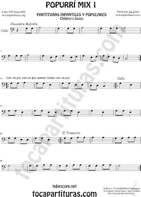 Popurrí Mix 1 Partitura de Violonchelo y Fagot Chocolate Molinillo, Con un Pie y El Trenecito Infantil Partituras Mix 1 Sheet Music for Cello and Bassoon Music Scores