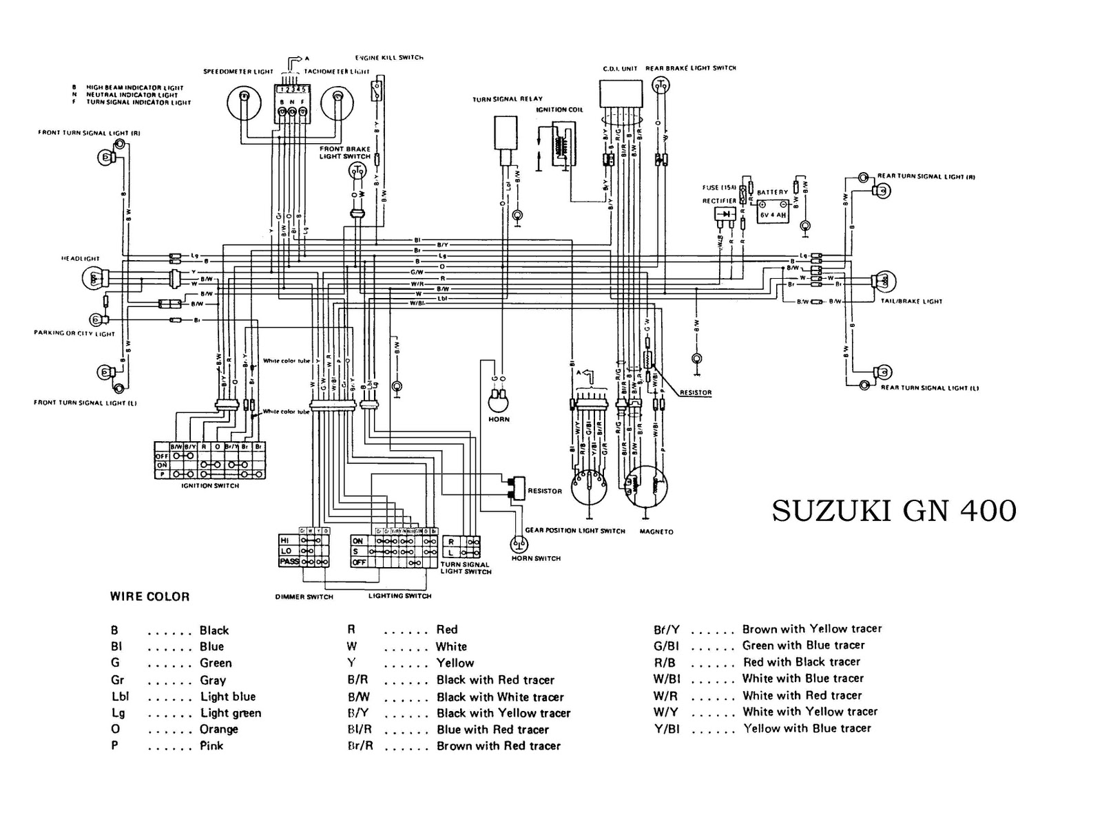 suzuki gn400 electrical wiring diagram