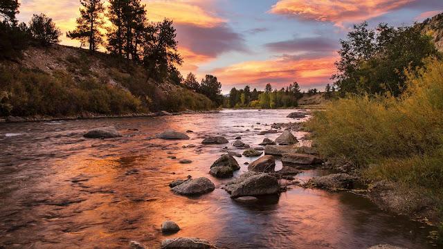Landscape, sunset clouds, river, stones, forest wallpaper