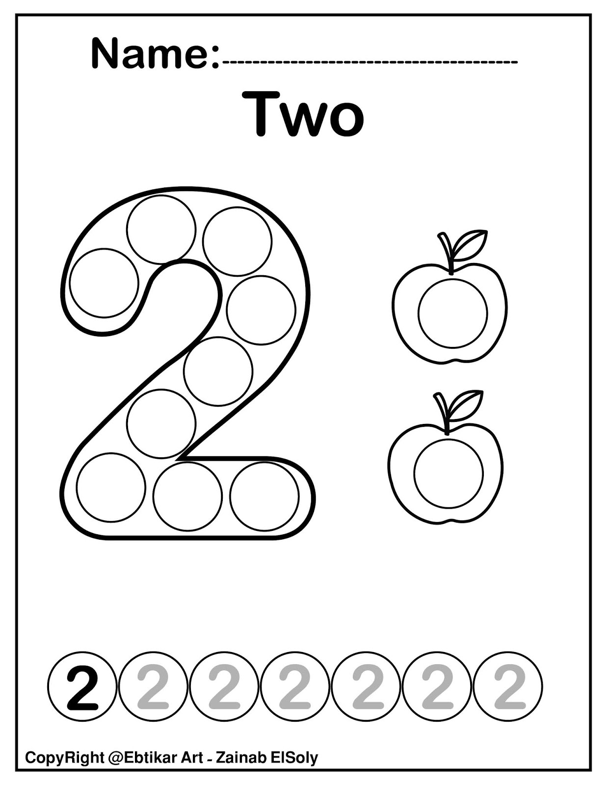 Set of 123 Numbers (Count Apples) Dot Marker Activity Coloring Pages for  Kids | 1600x1237