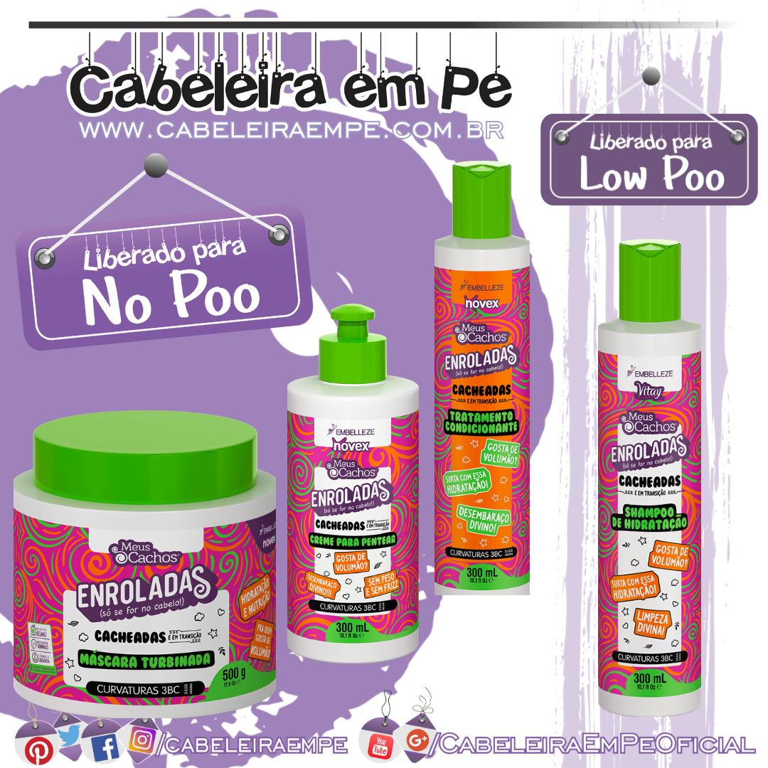 Shampoo (Low Poo), Condicionador, Máscara e Creme para Pentear (Liberados para No Poo) Enroladas Cacheadas - Novex Meus Cachos