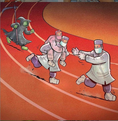 Alireza Pakdel (Iranian artist) image of doctors passing patient on like a relay race