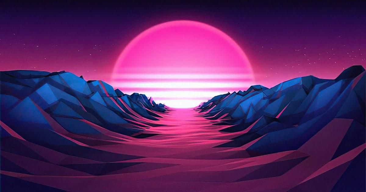 Retro, Vaporwave, Sun, Mountain