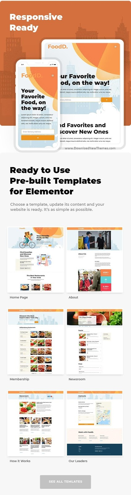 Food Delivery Elementor Template