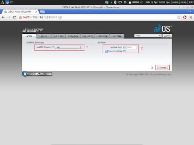 Jika sudah lalu pilih tab paling kiri (logo ubnt), pilih airmax priority = High, Airview port = 11111 lalu change > lalu apply