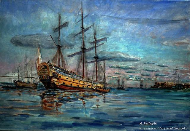 Pintura del Glorioso en la Habana antes de partir