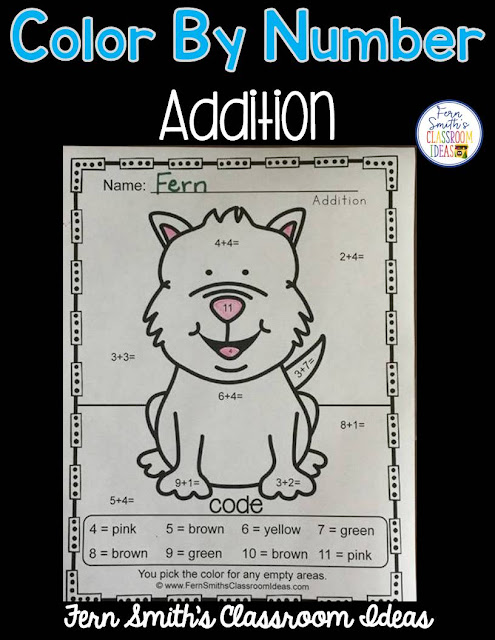 Free Color By Numbers Mixed Addition, Your students will adore this Awesome Animals Color Your Answers Worksheet for Mixed Addition. The answer key is also included, terrific for an Emergency Sub Tub or Homework! Fern Smith's Classroom Ideas
