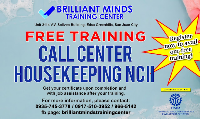 Free Call center and Housekeeping NC II training! Get your slot now!
