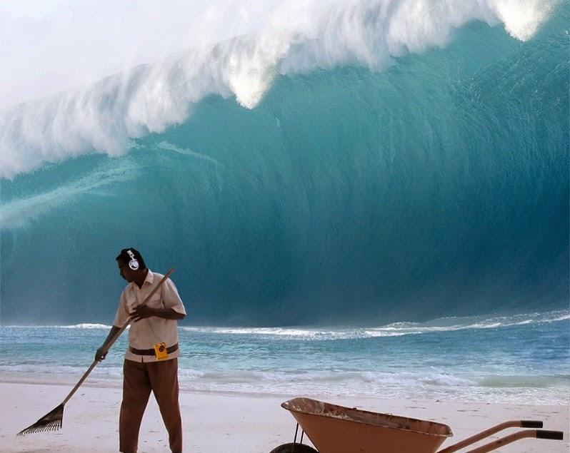 Tsunami chegando na praia