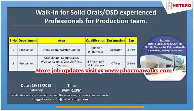 Hetero Labs - Walk-in interview for Solid Orals / OSD - Production on 16th November, 2019