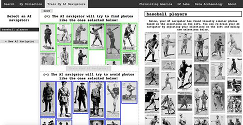 screenshot of newspaper navigator searching for baseball players