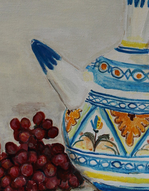 still-life, art, arte, painting, water-pots, ceramics, pintura, natura, morte, grapes, pitcher, pottery, vessel, leaves, fruit, water, acrylic, canvas, large, colours, painted, sarah, myers, artist, palm, palms, fronds, decor, yellow, blue, red, detail, close-up, spout, contemporary, modern