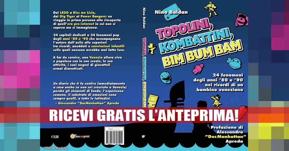 La copertina del mio libro ''Topolini, Kombattini, Bim Bum Bam'' (con prefazione del DocManhattan)