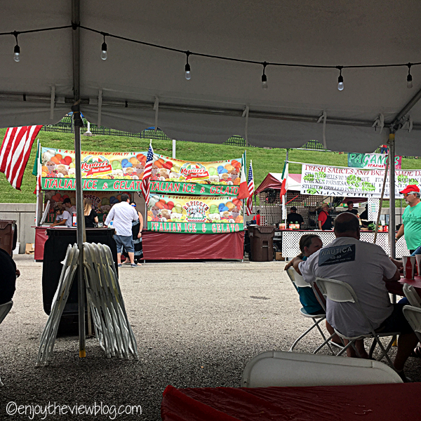 Food booths at the Newport Italian Festival along the Ohio River in Newport, Kentucky