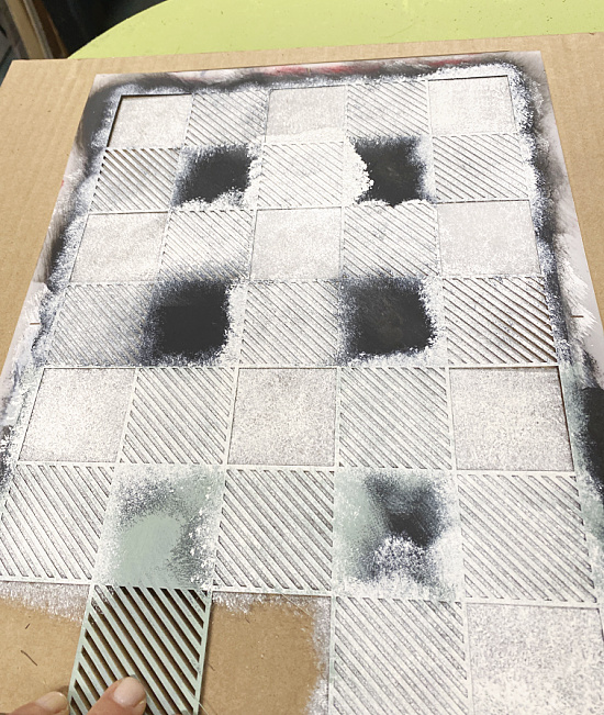 stenciling with white chalk paint