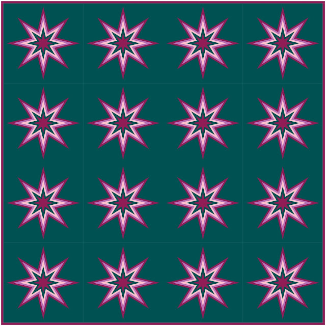 Quilt design made with free Starburst quilt block pattern