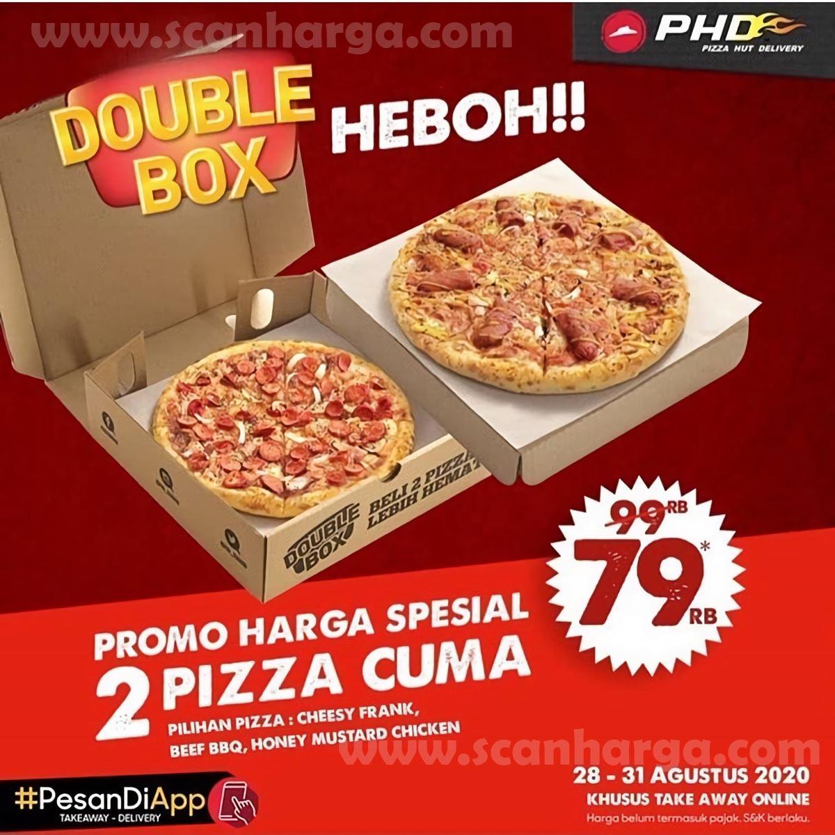 PHD Double Box Heboh - Promo Harga Spesial 2 Pizza Cuma 79Rb Periode 28 - 31 Agustus 2020